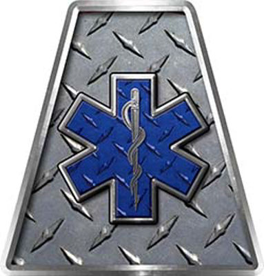 Fire Fighter, EMS, Rescue Helmet Tetrahedron Decal Reflective in Diamond Plate with Skull