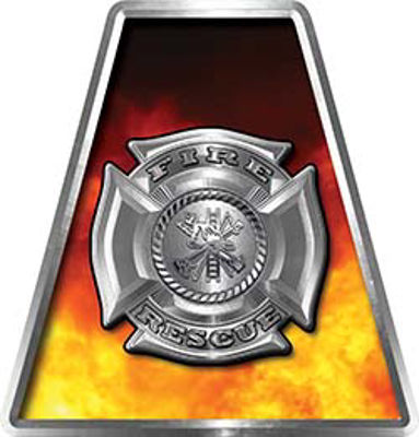 Fire Fighter, EMS, Rescue Helmet Tetrahedron Decal Reflective with Real Fire and Maltese Cross