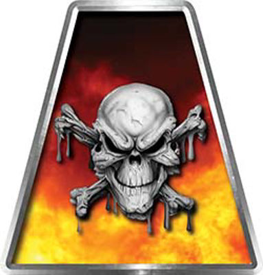 Fire Fighter, EMS, Rescue Helmet Tetrahedron Decal Reflective in Real Fire and Skull with Crossbones