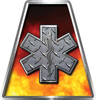 Fire Fighter, EMS, Rescue Helmet Tetrahedron Decal Reflective in Real Fire and Skull with Star of Life