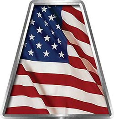 Fire Fighter, EMS, Rescue Helmet Tetrahedron Decal Reflective with American Flag