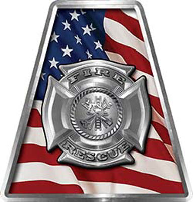 Fire Fighter, EMS, Rescue Helmet Tetrahedron Decal Reflective with American Flag and Maltese Cross