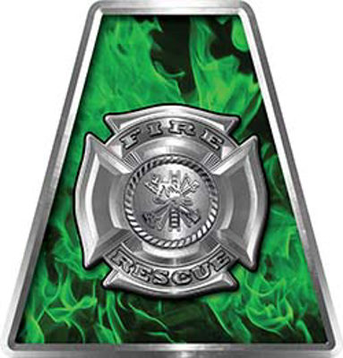 Fire Fighter, EMS, Rescue Helmet Tetrahedron Decal Reflective in Inferno Green with Maltese Cross