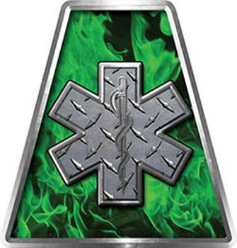Fire Fighter, EMS, Rescue Helmet Tetrahedron Decal Reflective in Inferno Green with Star of Life