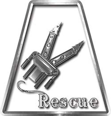 Fire Fighter, EMS, Rescue Helmet Tetrahedron Decal Reflective Rescue Tools with Jaws of Life