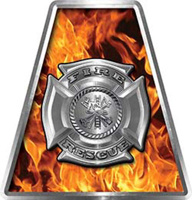 Fire Fighter, EMS, Rescue Helmet Tetrahedron Decal Reflective in Inferno with Maltese Cross