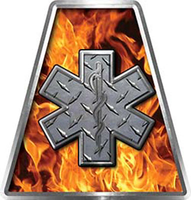 Fire Fighter, EMS, Rescue Helmet Tetrahedron Decal Reflective in Inferno with Star of Life