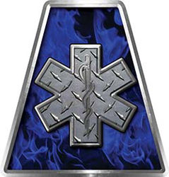 Fire Fighter, EMS, Rescue Helmet Tetrahedron Decal Reflective in Inferno Blue with Star of Life
