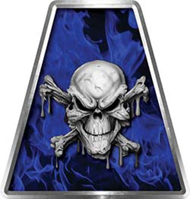 Fire Fighter, EMS, Rescue Helmet Tetrahedron Decal Reflective in Inferno Blue with Skull