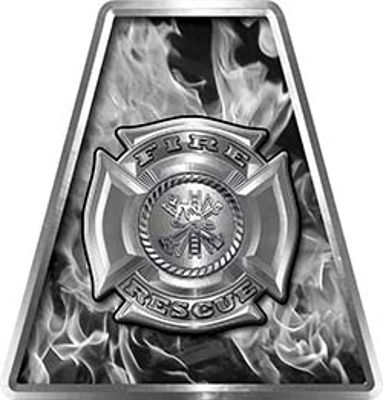 Fire Fighter, EMS, Rescue Helmet Tetrahedron Decal Reflective in Inferno Gray with Maltese Cross