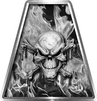 Fire Fighter, EMS, Rescue Helmet Tetrahedron Decal Reflective in Inferno Gray with Skull