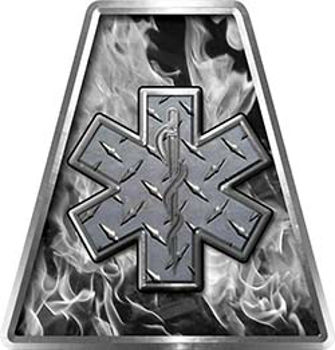 Fire Fighter, EMS, Rescue Helmet Tetrahedron Decal Reflective in Inferno Gray with  Star of Life