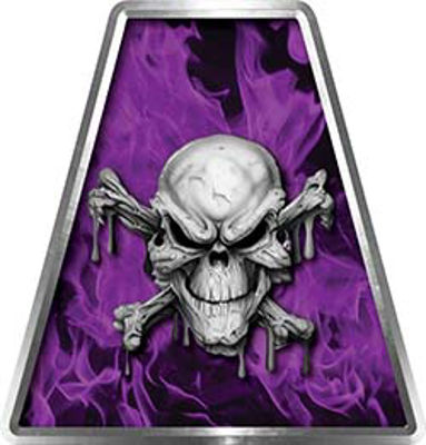 Fire Fighter, EMS, Rescue Helmet Tetrahedron Decal Reflective in Inferno Purple with Skull and Cross Bones