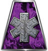 Fire Fighter, EMS, Rescue Helmet Tetrahedron Decal Reflective in Inferno Purple with Star of Life