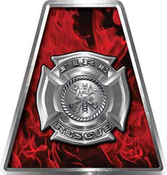 Fire Fighter, EMS, Rescue Helmet Tetrahedron Decal Reflective in Inferno Red with Maltese Cross