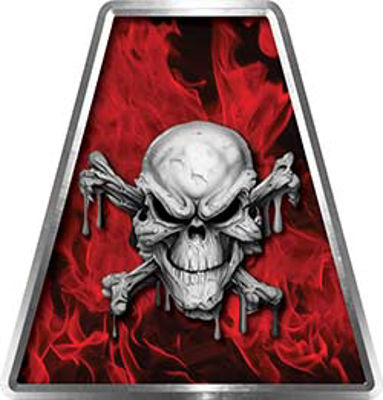 Fire Fighter, EMS, Rescue Helmet Tetrahedron Decal Reflective in Inferno Red with Skull and Crossbones