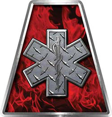 Fire Fighter, EMS, Rescue Helmet Tetrahedron Decal Reflective in Inferno Red with Star of Life