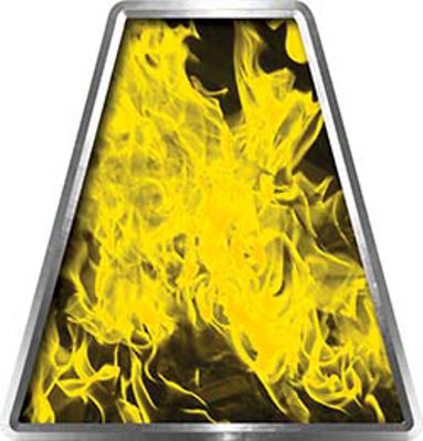 Fire Fighter, EMS, Rescue Helmet Tetrahedron Decal Reflective in Inferno Yellow