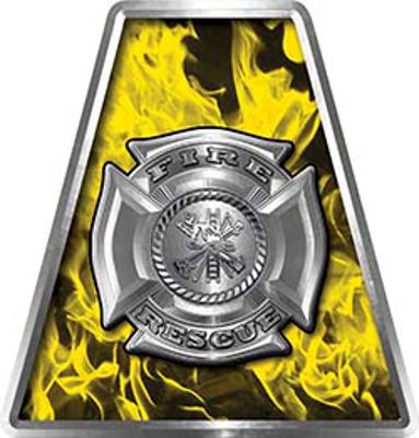Fire Fighter, EMS, Rescue Helmet Tetrahedron Decal Reflective in Inferno Yellow with Maltese Cross