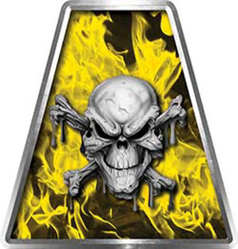 Fire Fighter, EMS, Rescue Helmet Tetrahedron Decal Reflective in Inferno Yellow with Skull and Crossbones