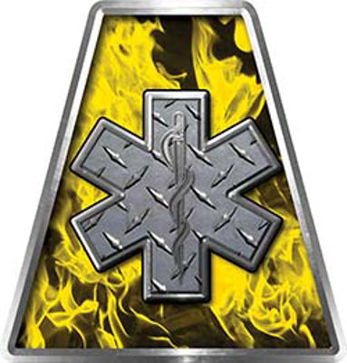 Fire Fighter, EMS, Rescue Helmet Tetrahedron Decal Reflective in Inferno Yellow with Star of Life