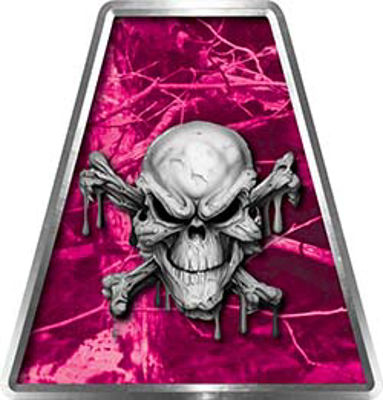 Fire Fighter, EMS, Rescue Helmet Tetrahedron Decal Reflective in Pink Camo with Skull and Crossbones