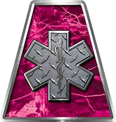 Fire Fighter, EMS, Rescue Helmet Tetrahedron Decal Reflective in Pink Camo with Star of Life