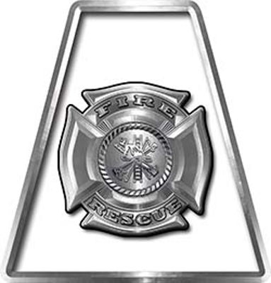Fire Fighter, EMS, Rescue Helmet Tetrahedron Decal Reflective in White with Maltese Cross