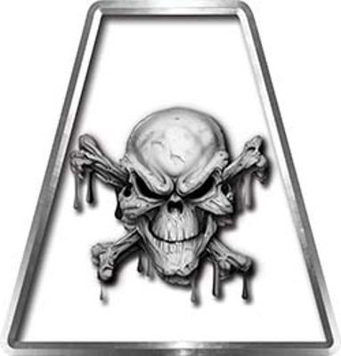 Fire Fighter, EMS, Rescue Helmet Tetrahedron Decal Reflective in White with Skull and Crossbones