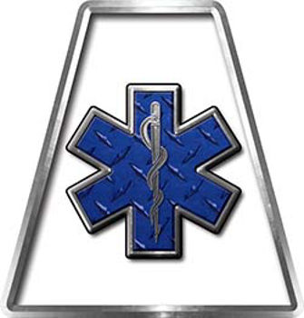 Fire Fighter, EMS, Rescue Helmet Tetrahedron Decal Reflective in White with Star of Life