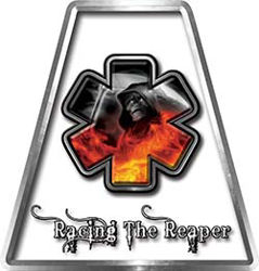 Fire Fighter, EMS, Rescue Helmet Tetrahedron Decal Reflective with Crash Rescue Racing the Reaper