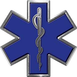 Star of Life Emergency EMS EMT Paramedic Decal in Blue