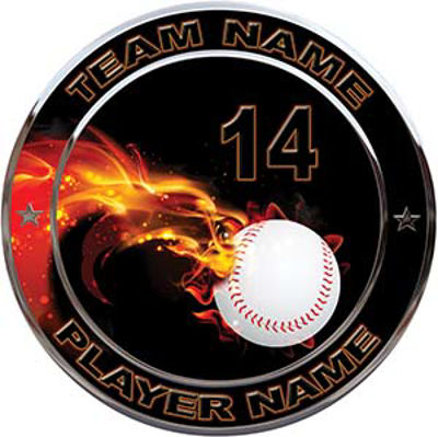 Custom Team Sports Decal with Name and School with Flaming Baseball