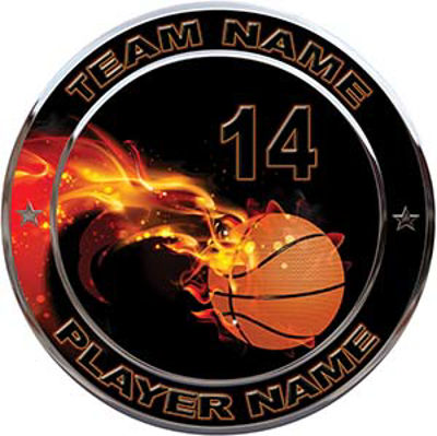 Custom Team Sports Decal with Name and School with Flaming Basketball