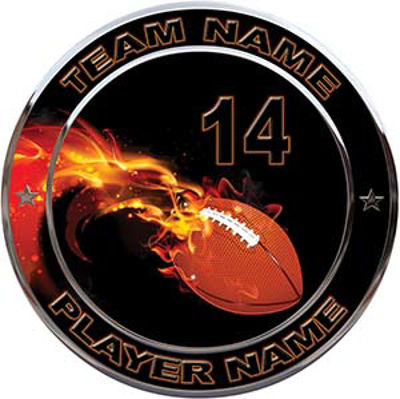Custom Team Sports Decal with Name and School with Flaming Football