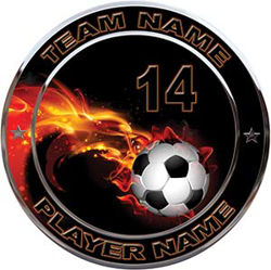 Custom Team Sports Decal with Name and School with Flaming Soccer