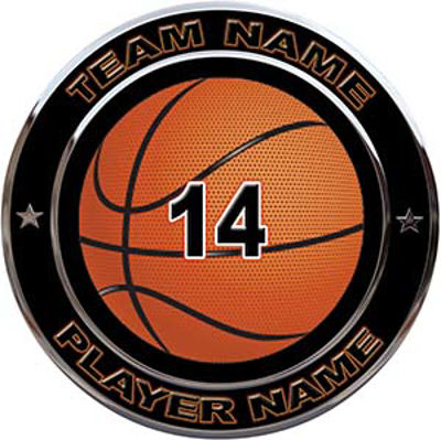 Custom Team Sports Decal with Name and School with Basketball