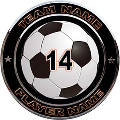 Custom Team Sports Decal with Name and School with Soccer Ball
