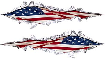 Weston Ink's Ripped Torn Metal Graphic Decal with USA Patriotic American Flag