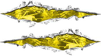 Weston Ink's Ripped Torn Metal Graphic Decal with Camouflage in Yellow