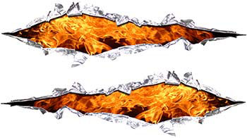 Weston Ink's Ripped Torn Metal Graphic Decal with Inferno Flames