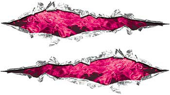 Weston Ink's Ripped Torn Metal Graphic Decal with Inferno Pink Flames