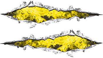 Weston Ink's Ripped Torn Metal Graphic Decal with Inferno Yellow Flames