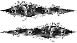 Weston Ink's Ripped Torn Metal Graphic Decal with Gray Evil Skulls