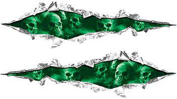 Weston Ink's Ripped Torn Metal Graphic Decal with Green Evil Skulls