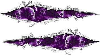 Weston Ink's Ripped Torn Metal Graphic Decal with Purple Evil Skulls
