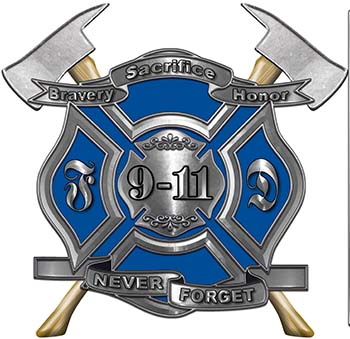 Never Forget 911 Bravery Honor and Sacrifice 9-11 Firefighter Memorial Decal in Blue