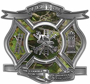 The Desire To Serve Firefighter Maltese Cross Reflective Decal in Camouflage