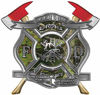 The Desire To Serve Twin Fire Axe Firefighter Maltese Cross Reflective Decal in Camouflage