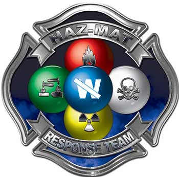 Hazmat Hazardous Materials Response Team Fire Fighter Decal with Maltese Cross in Reflective Blue